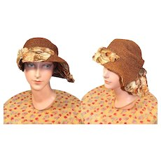 1920s Straw Braid Cloche Hat w/Velvet Flowers & Asymmetrical Brim