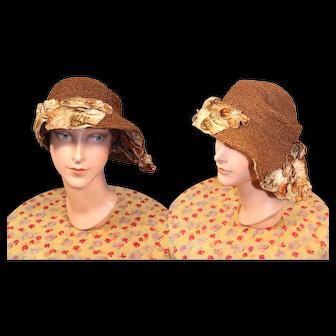 1920s Straw Braid Cloche Hat w/Velvet Flowers & Asymmetrical Brim