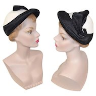"Vintage 1950s Black & White ""Straw"" Braid Hat w/Pearl Accent"