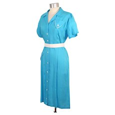 "NOS Vintage 1950s Turquoise & White Rayon Dress ""Crushmaster"" L"