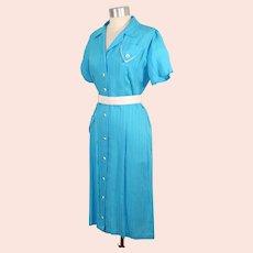 "NOS Vintage 1950s Turquoise & White Rayon Dress ""Crushmaster"" L"