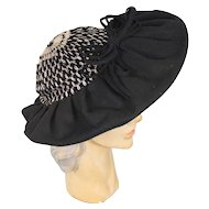 Vintage 30s/40s Black Wool Wide Brim Hat w/Crocheted Metallic Crown