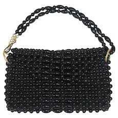 "NOS Vintage 1960s Black Hong Kong Beaded Purse ""Nu-Mode"""