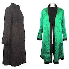 Vintage 1980s Black Persian Lamb Fur Coat: Reichlin, Ellin & Levin XS