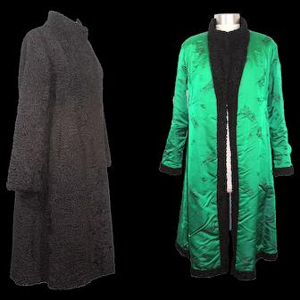 Vintage 1980s Black Persian Lamb Fur Coat: Reichlin, Ellin & Levin XS