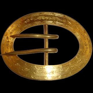 "Large Edwardian Gilt Brass Sash Buckle w/Chasing ""BLM"""