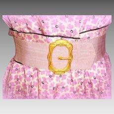 Art Nouveau Fishel Nessler Gilt Buckle w/ Lilac Grosgrain Belt