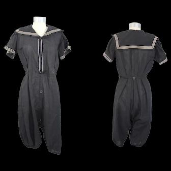 1910s Black Wool Sailor Collar Bathing Suit