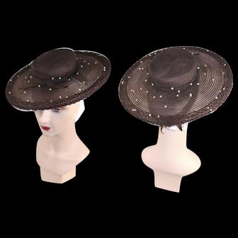 Vintage 1940s New York Creation Brown Wide Brim Sailor Hat R.H.Stearns