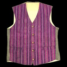 Antique c. 1910 Purple & Green Striped Brocade Waistcoat or Vest S/XS