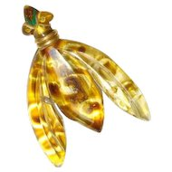 Vintage 1940s Reverse Painted Carved Lucite Insect Bug Brooch