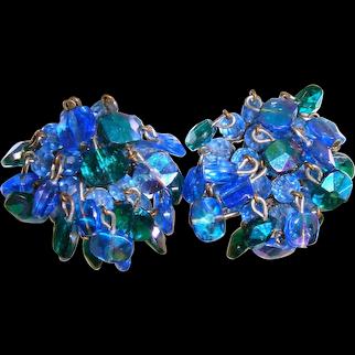Vintage 50s/60s Vogue Blue-Green AB Crystal Waterfall Earrings