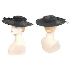 Vintage c.1950 Jeanne Eileen Black Cartwheel Hat w/Beaded Appliques