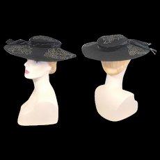 Vintage c.1950 Jeanne Eileen Black Cartwheel Hat w/Beaded Appliques