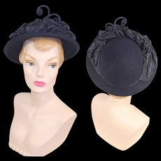 Vintage 1940s New York Creations Blue Fur Felt Hat w/Faille Accents