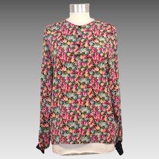 Vintage 1980s Ungaro Solo Donna Silk Tulip Print Blouse M