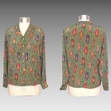 Vintage 1980s Ungaro Parallele Paisley Floral Silk Blouse M