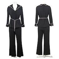 Vintage 60s/70s Black Wool Crepe Evening Pantsuit w/Rhinestone Trim XS/S