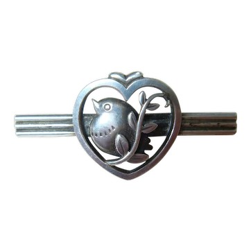 "Vintage 50s/60s George Jensen ""Chubby Bird"" Sterling Bar Pin 282"