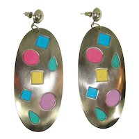 Vintage 80s New Wave Steel & Confetti Suede Statement Earrings