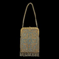 c.1920 French Steel Beaded Purse in Blue, Gold & Silver