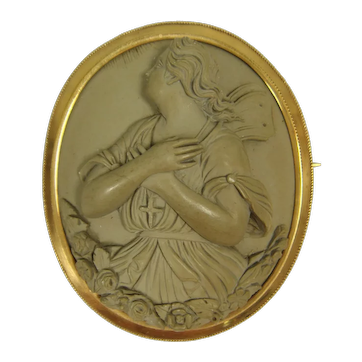 Antique 1860s 14K Lava Cameo Brooch Psyche Christian Allegory