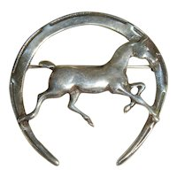 Vintage 1940s Sterling Horse & Horseshoe Brooch Equestrian