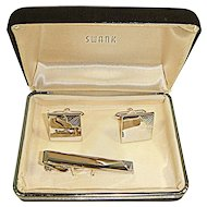 NOS Vintage 1950s SWANK Cuff Links & Tie Clip Boxed Set