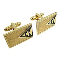 Vintage 1960s Shields MCM Triangles Goldtone Cuff Links