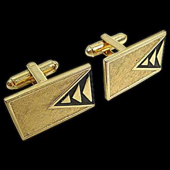 Vintage 1960s Shields MCM Triangles Goldtone Cuff Links