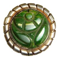 Vintage 30s Green Carved Bakelite Flower Brooch w/Metal Frame