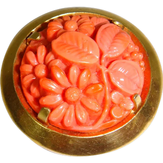 Vintage 1930s Molded Glass Coral Flowers Brass Dress Clip