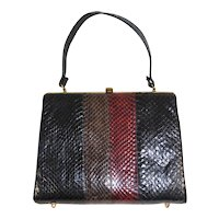 Vintage 1960s Striped Top Handle Snakeskin Purse Handbag