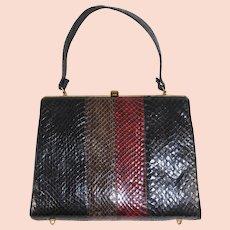 Vintage 1960s Striped Top Handle Snakeskin Purse Handbag