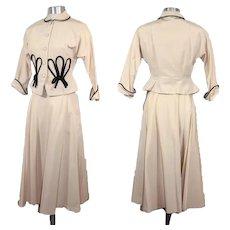 Vintage 1940s Ivory Faille Peplum Suit Aldens Junior Shop XS/S