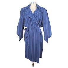 Vintage 1980s Thierry Mugler Navy Wool Chalk Stripe Wrap Dress S