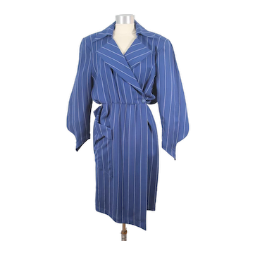 Vintage 1980s Thierry Mugler Navy Wool Chalk Stripe Wrap Dress S