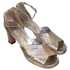 Vintage 70s Francois Villon Custom Gold Kidskin Sandals 38.5/8