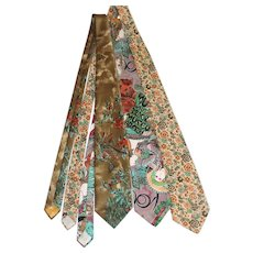 Trio of 1970s Neckties: Schiaparelli, Liberty of London, Alphonse Mucha Print