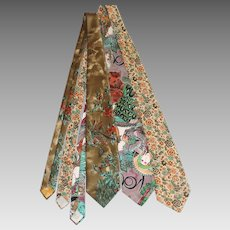Trio of 1970s Neckties: Schiaparelli, Liberty of London, Alphonse Mucha Print
