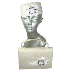 NOS Vintage 60s White Linen & Seashells Purse & Pillbox Hat Set