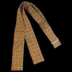 Vintage 1960s Hand Blocked Olive Silk Foulard Skinny BowTie
