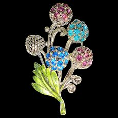 Vintage 1950s Hollycraft Enamelled Rhinestone Thistle Brooch or Scatter Pin