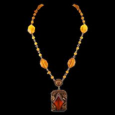 Vintage 30s Czech Deco Topaz Glass Pendant Necklace