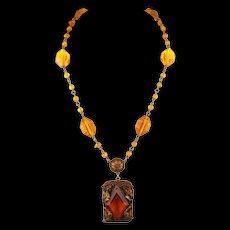 Vintage 30s Czech Deco Topaz Glass Pendant Necklace
