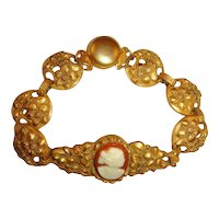 Vintage 30s Celluloid Cameo Bracelet w/Floral Stamped Links
