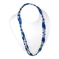 "1920s Cobalt Blue Glass Beaded Necklace 53"" Flapper Length"