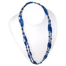 "1920s Cobalt Blue Glass Beaded Necklace 53"" Flapper Length"