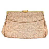 Vintage 1930s Koret Metallic Brocade Evening Clutch Purse w/Jewelled Clasp