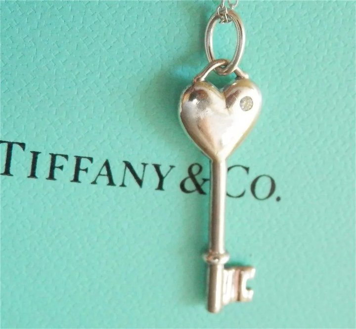 Final markdown lovely tiffany co silver diamond heart key silver diamond heart key pendant chain mozeypictures Image collections
